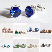 Beautiful sterling silver & Swarovski Elements birthstone earrings