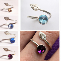 Striking sterling silver and Swarovski Elements birthstone leaf rings