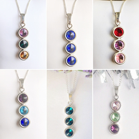 Beautiful sterling silver & triple Swarovski Elements birthstone necklace