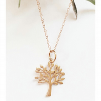 Beautiful sterling silver with rose gold vermeil tree of life necklace