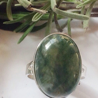 Beautiful sterling silver and moss agate statement ring