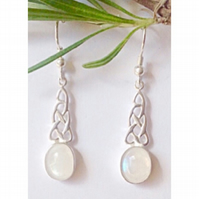 Beautiful sterling silver and moonstone Celtic knot earrings