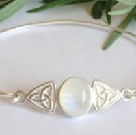 Sterling silver and moonstone Celtic knot bangle
