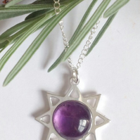 Beautiful sterling silver and amethyst sun necklace