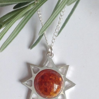 Sterling silver and amber sun necklace
