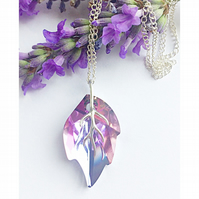 Sterling silver Swarovski Elements crystal leaf necklace (Vitrail light)