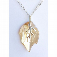 Sterling silver Swarovski Elements leaf necklace (Golden Shadow)