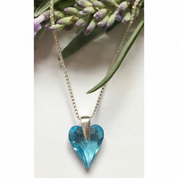 Sterling silver & Swarovski Elements heart necklace (aquamarine)