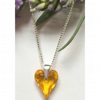 Sterling silver & Swarovski Elements heart necklace (sunflower)