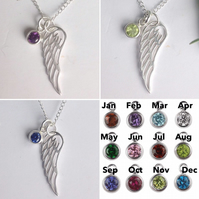 Personalised Sterling Silver and crystal birthstone angel wing necklace