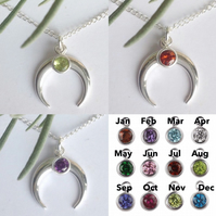 Sterling silver and crystal birthstone crescent moon necklace