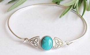 Sterling silver and turquoise Celtic knot bangle