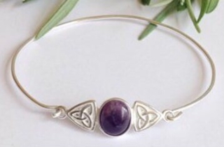 Sterling silver and amethyst Celtic knot bangle