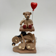 Teddy Bear automaton with heart shaped balloon