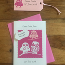 New baby Boy or Girl card with matching gift tag Owls sitting on a branch