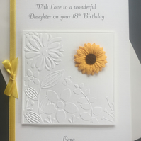 Personalised Birthday Card Sunflower Daisy 16th 18th 21st 30 50th 60 70 80 100th