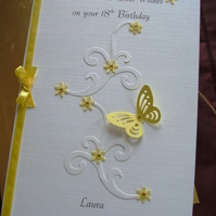 Personalised, Boxed Birthday Card A5 Butterflies Flowers Swirls. Any Age