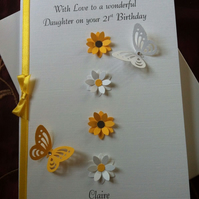 Personalised Boxed Birthday Card Flowers And Butterflies Any Age