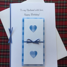 Boxed Birthday or Anniversary Card Husband Partner Boyfriend Blue Hearts Checks
