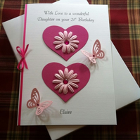 Personalised Boxed Birthday Card Pink Daisies & Hearts Any Age Relation