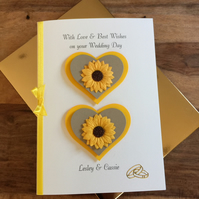 Personalised Boxed Engagement or Wedding Day Card, Sunflowers & Gold Hearts