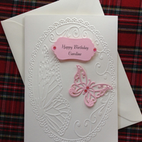 Personalised Birthday or Anniversary card. Pink and Cream, Embossed Butterfly