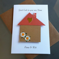 Handmade, Personalised 3D Good Luck in your New Home Card House Design
