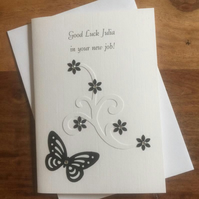 Handmade, Personalised Good Luck in your New Job Card