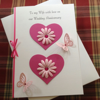 Boxed Anniversary Card Wife Partner Girlfriend Pink Hearts, Flowers Butterflies