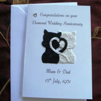 Handmade and Personalised Diamond Wedding Anniversary Card 60th Cats