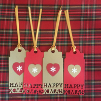 4 x Large Handmade Happy Xmas Gift Tags. Gold And Red With Hearts, Snowflakes