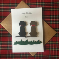 Birthday or Retirement card, Any Relation or Name. Black and Brown, Spotty Dogs