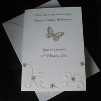 Personalised Diamond 60th Platinum 70th or Silver 25th Wedding Anniversary Card