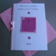 Handmade and Personalised Birthday Card Pink Cup Cake Any Age Or Relation