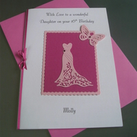 Personalised Birthday Card Evening Dress,Black or Pink Any Age or Relation