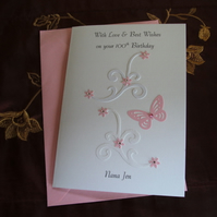 Birthday Card, Personalised. Pink Butterfly and Flowers on swirls. Any Age