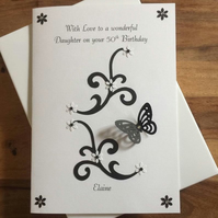 Personalised Birthday Card Sister Daughter Niece Friend Granddaughter, Any Age