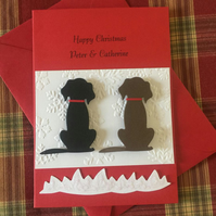 Personalised Christmas Card, Any Relation or Name. Black and Brown, Spotty Dogs