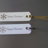 10 x Happy Christmas Gift Tags. Gold Or Silver Snowflakes On Linen Card