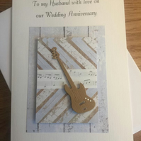 Boxed Birthday or Anniversary Card For Husband, Partner, Boyfriend Guitar Design