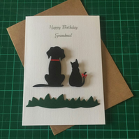 Birthday, Retirement, Mother's, Father's Day Card Any Relation or Name. Cat Dog