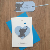 New baby Boy or Girl card with matching gift tag Baby Elephant and Heart