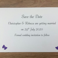Personalised Save The Date Card & Envelope, Butterflies. Choice of Colours