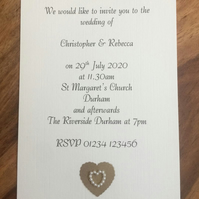 Personalised Wedding Invitation & Envelope, Pearl Heart. Choice of Colours