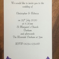 Personalised Wedding Invitation & Envelope, Butterflies. Choice of Colours