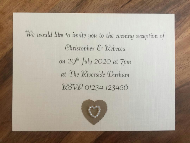 Personalised Evening Invitation & Envelope, Pearl Heart. Choice of Colours