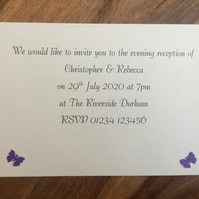 Personalised Evening Invitation & Envelope, Butterflies. Choice of Colours