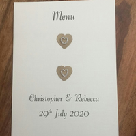 Personalised Wedding Menu Cards Choice of colours Scalloped Heart & Pearl Heart