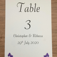 Wedding Table Numbers Butterfly Design, Double Sided. Choice of Colours
