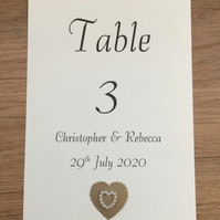 Wedding Table Numbers, Double Sided. Scalloped & Pearl Heart Choice of Colours